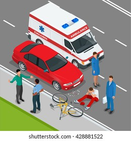 Car accident or crash. Flat 3d vector isometric illustration. Accident road situation danger car-crash and accident road collision safety emergency transport. Accident dangerous speed.