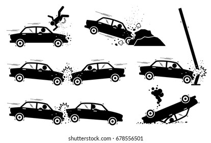 Car Accident and Crash. Illustrations depict a car hit a man, driver drives and crash on boulders, road side pole, another vehicle head on, and back. The car also turn upside down.