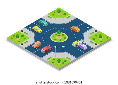 Car accident and crash, vector isometric 3D illustration. Collision at roundabout junction road. Safety street traffic and insurance concept.