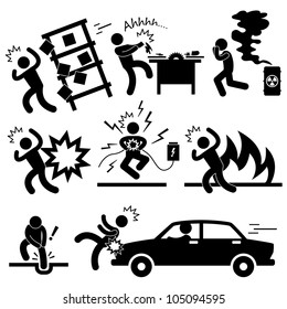 Car Accident Explosion Electrocuted Fire Danger Icon Symbol Sign Pictogram
