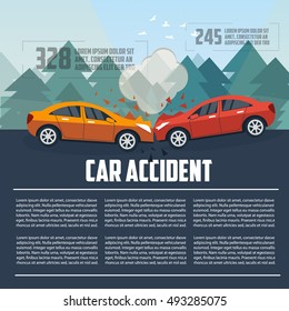 Car accident infographics. Car crash template in flat style. Car accident letterhead template. Two cars hit head-on template. Vector illustration.
