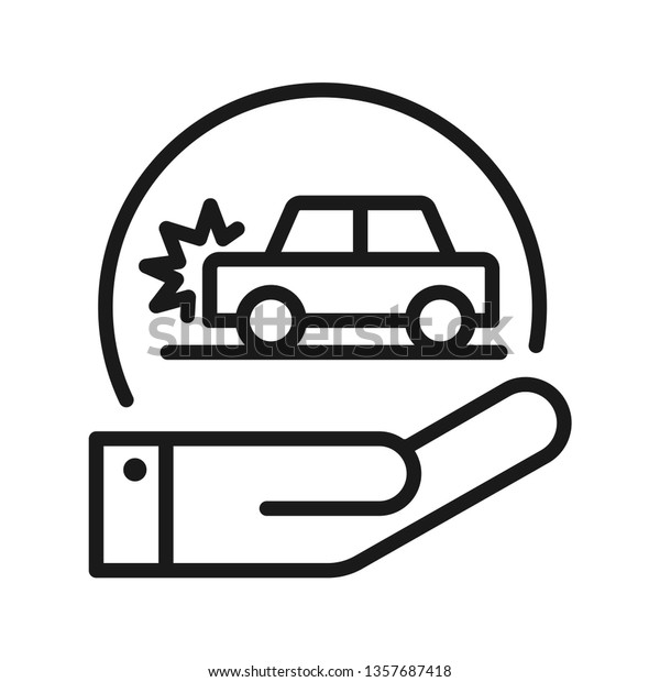 Car Accident Insurance Icon Hands Holding Stock Vector Royalty Free