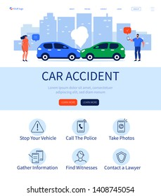 Car accident landing page. Can use for web banner, infographics, hero images. Flat isometric vector illustration isolated on white background.