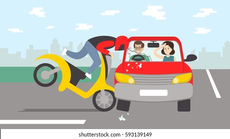 Car accident with motorbike. Dangerous crash on the road. Motorcycle driver in helmet.