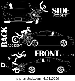 Car accident, motorcycle vector style.