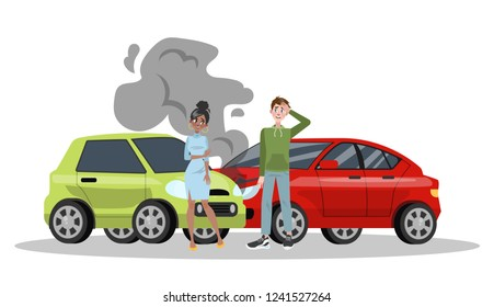 Car accident on the road. Automobile damage or auto crash. Safety on the street. Isolated flat vector illustration