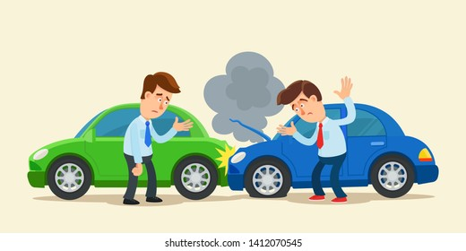 Car accident on the road, black smoke go up from the car engine. Two arguing men. Car insurance concept. Vector illustration, isolated background. Cartoon, flat style.