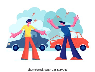 Car Accident on Road, Couple of Drivers Male Character Arguing Standing on Roadside at Crashed Automobiles. Insurance Situation, City Dwellers Suffered in Traffic, Cartoon Flat Vector Illustration