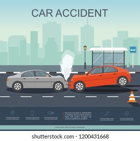 Car Accident on the road. Transporation Infographic.  Banner Flat Vector Illustration