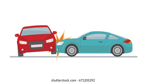 Car accident on white background. Flat style, vector illustration.