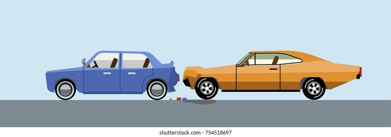 Car accident. In one car was hit by another car. Broken car. Accident on the road. Flat style. Flat design.