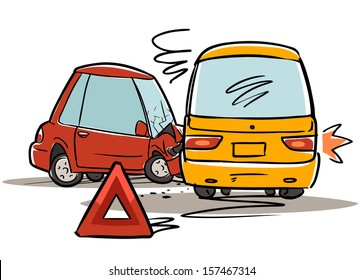car accident. red triangle sign. cartoon illustration