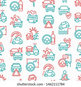 Car accident seamless pattern with thin line icons: crashed cars, tow truck, drunk driving, safety belt, traffic offense, car insurance, falling in water, warning triangle. Modern vector illustration.