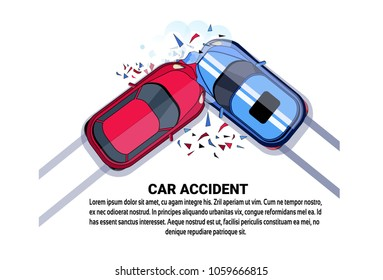 Car Accident Top View Vehicle Collision Icon Over White Background With Copy Space