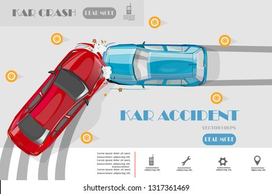 Car accident top view,transporation Infographic,vector illustration.