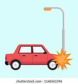 Car accident tranportation crash hit street lighting pole