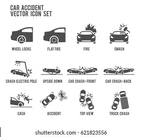 Car Accident Vector Icon Illustration.  Included the icons as smash, flat tire, wheel lock, crash, upside down, fire, truck crash and more.