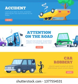 Car accidents. Damaged and broken automobiles scene of carsh cars vector pictures for banners