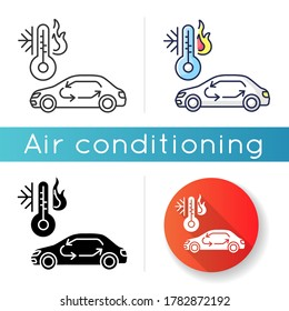 Car air conditioning icon. Linear black and RGB color styles. Vehicle interior ventilation, transport heating and cooling system. Automobile with air circulation Isolated vector illustrations