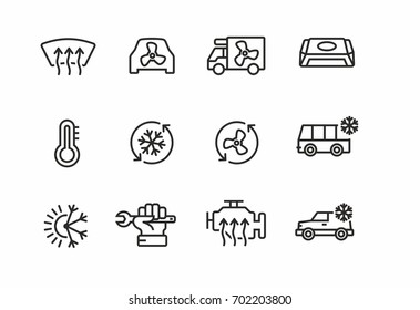 Car air conditioning icons set