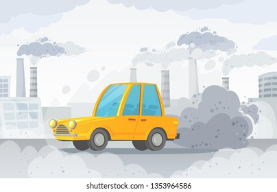 Car air pollution. City road smog, factories smoke and industrial carbon dioxide clouds. Vehicle toxic pollution, polluted air or environment car waste hazard cartoon vector illustration