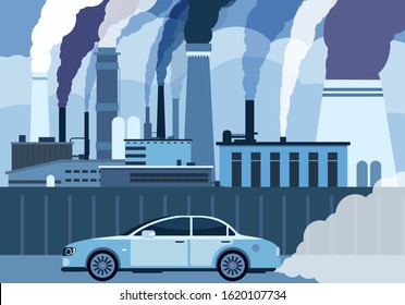 Car air pollution. City road smog, toxic air atmosphere contamination. Exhaust chemical carbon car waste, industry smoke vector concept