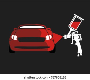 Car airbrush painting. Vector illustration of a car body repair process. Automotive concept in gray, white and red colors useful for a pictogram, icon, logotype or signboard design.