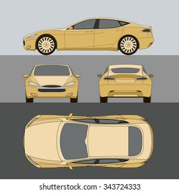 Car all view side front top back vector
