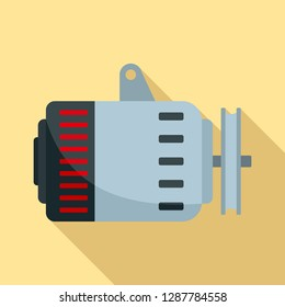 Car alternator icon. Flat illustration of car alternator vector icon for web design