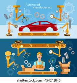 Car assembly line banner operator automotive industry conveyor belt vector illustration