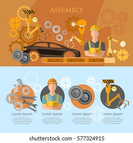 Car assembly line infographics conveyor belt operator automotive industry. Industrial automation conveyor robotic hands for manufacture