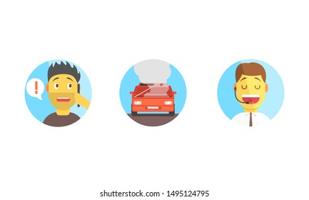 Car Assistance Help, Call Operator Support, Phone Dispatcher Center, Evacuation Service Vector Illustration