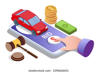 Car auction online, vector illustration. Isometric smartphone with car on screen, finger tapping bid button. Auction and mobile bidding concept for web banner, website page etc