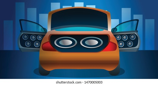 Car audio concept banner. Cartoon illustration of car audio vector concept banner for web design
