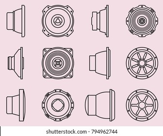 Car audio icon set. Speaker driver. Vector thin line