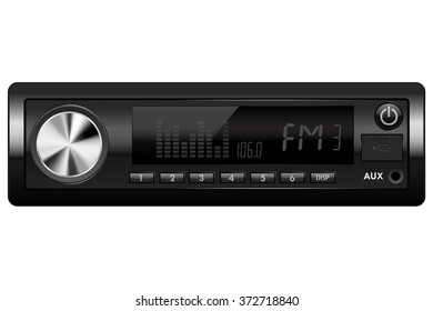 Car audio. Media receiver. Vector illustration isolated on white background