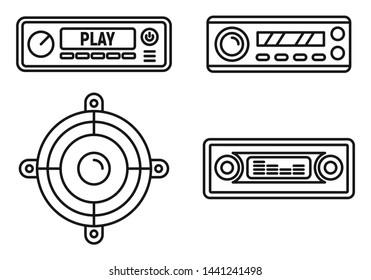 Car audio speaker icons set. Outline set of car audio speaker vector icons for web design isolated on white background