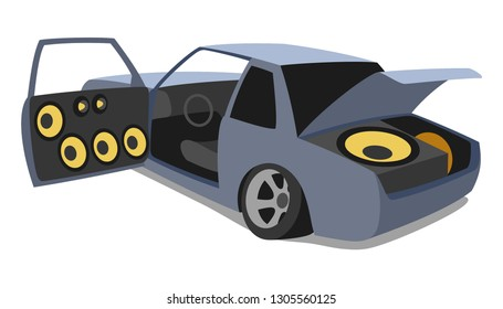 Car audio with speakers in open doors and subwoofer loudspeaker in trunk. Vector illustration.