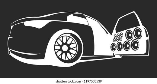 Car audio stylish flat logo. Vector illustration.