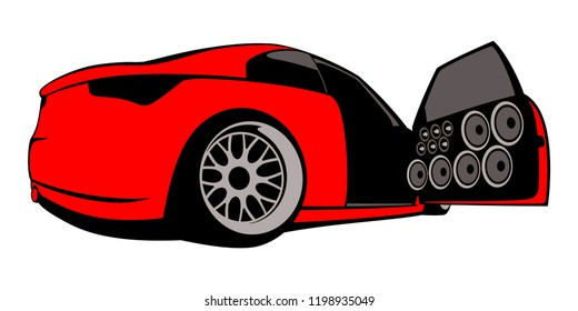 Car audio stylish flat logo. Vector illustration.