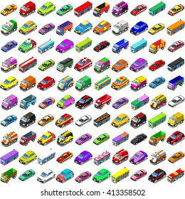 Car Auto Automobile. Vector Isometric flat Vehicles Collection Cars and Van. Transport Icons. Colorful 3D Auto Automobile Icon Set. Infographic Insight 3D Cars Isolated elements Vector Illustration.