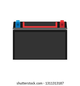 Car auto battery front view vector icon. Equipment transportation black accumulator volt. Service vehicle repair