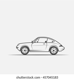 car, auto in black and white style isolated on white background.
