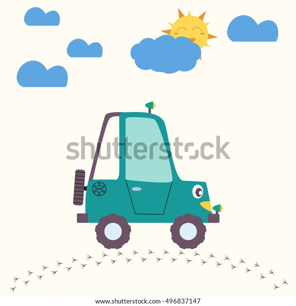 Car Auto Cartoon Retro Kids Little Stock Vector Royalty Free 496837147