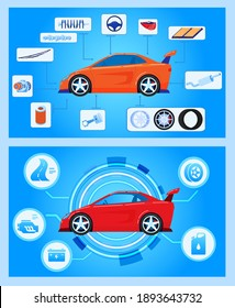 Car auto hardware diagnostics, condition of vehicle, scanning, test and monitoring, analysis, vector illustration. Car insurance service. Transport engine, automobile with auto icons.