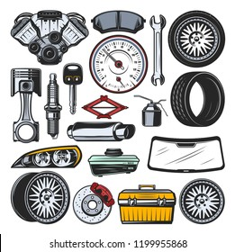 Car auto parts icons and tools. Vector engine valves, brake pads or manometer, tire and rims, spark plug and wrench, mechanic toolbox for repair, headlight and windshield, car key and jack