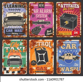 Car and auto service cards or retro posters with rust effect. Vector vintage rusty design for car wash or mechanic repair and petrol station, garage tire fitting, taxi and spare parts store