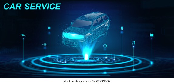 Car Auto Service in futuristic style HUD with hologram crossover and icons. Low poly 3D car projection. Scanning and automobile data analysis. Car Auto Service, Modern Design, Diagnostic. Vector