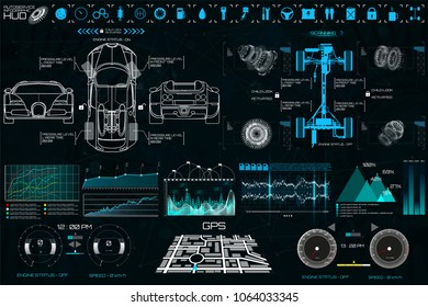 Car auto service. HUD UI style. Modern UI diagnostics of cars( infographic, auto scanning, analysis and diagnostics). Futuristic scanning, repair, dashboard, infographics, gps.  HUD UI