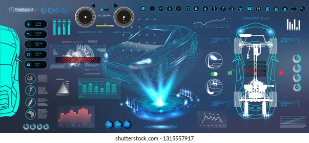 Car auto service. HUD UI style. Modern UI diagnostics of cars( infographic, auto scanning, analysis and diagnostics). Futuristic scanning, repair, dashboard, infographics. HUD UI